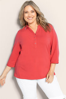 Plus Size - Sara 3/4 Sleeve Polo - 178969