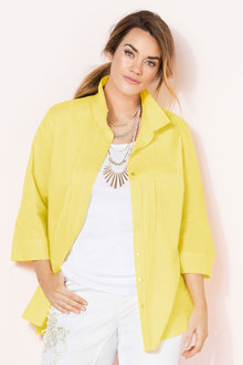 Plus Size - Sara Cotton Voile Pintuck Shirt - 179024