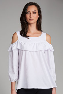 Emerge Ruffle Cold Shoulder Tee - 179079