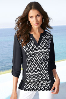 Capture European Notch Neck Printed Top