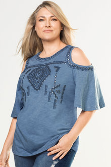 Plus Size - Sara Cold Shoulder Knit Top
