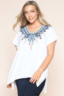 Plus Size - Sara Embroidered Knit Tunic