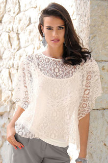 Euro Edit Lace Oversized Top