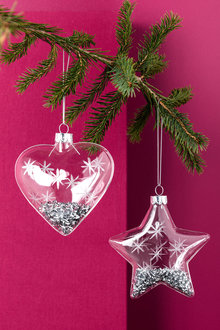 Glass Star and Heart Ornaments Set of 2