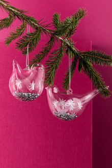 Glass Bird Ornaments Set of 2