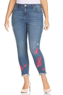 Plus Size - Sara Feather Embroidered Skinny Jean