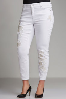 Plus Size - Sara Gold Applique Straight Jean