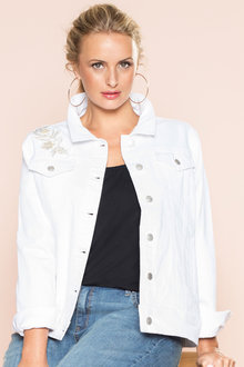 Plus Size - Sara Gold Embroidered Denim Jacket