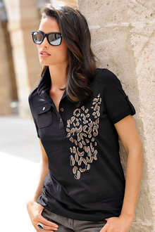 Euro Edit Embellished Polo Shirt