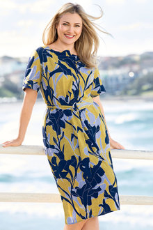 Plus Size - Sara Printed Shirt Dress