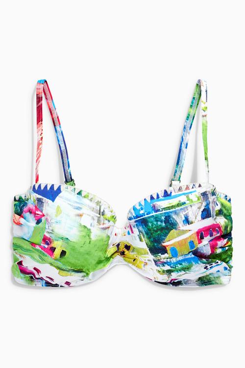 Next Printed Bandeau Bikini Top