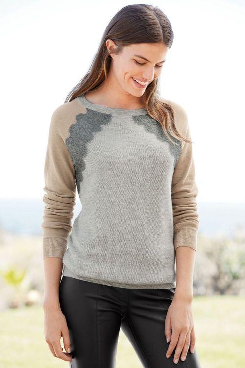 Next Lace Colourblock Sweater - Petite