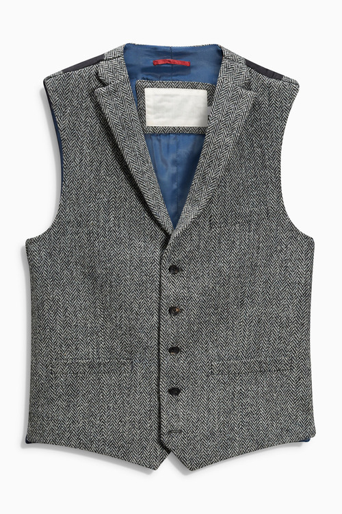Next Signature Harris Tweed Herringbone Waistcoat - Tailored Fit