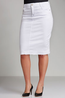 Plus Size - Sara Denim Release Hem Skirt