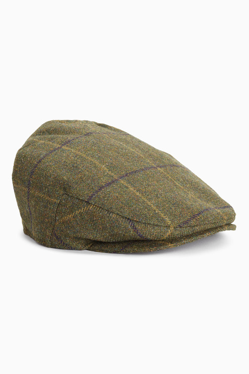 Next London Khaki Check Flat Cap
