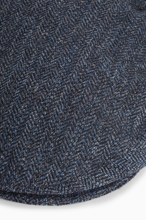 Next London Navy Herringbone Flat Cap
