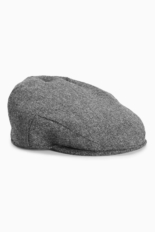 Next London Charcoal Flat Cap