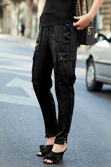 Next Black Satin Cargo Trousers