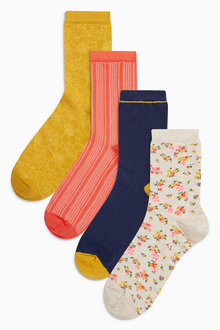 Next Navy/Ochre Floral Ankle Socks Four Pack