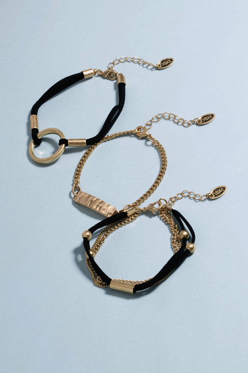 Next Gold Tone Black Cord Bracelet Pack
