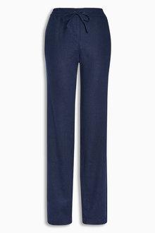 Next Linen Blend Parallel Trousers