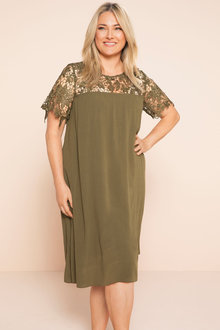 Plus Size - Sara Lace Yoke Swing Dress - 181696