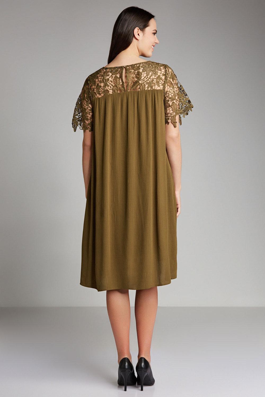 b81ab049668 Plus Size - Sara Lace Yoke Swing Dress
