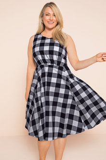 Plus Size - Sara Check Fit n Flare Dress