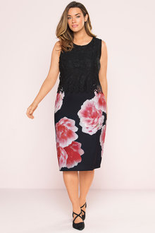 Plus Size - Sara Lace & Print Overlay Dress