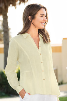 Capture Linen Peplum Shirt - 182239