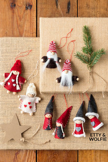 Nordic Etty and Wolfie Ornaments Set of 2