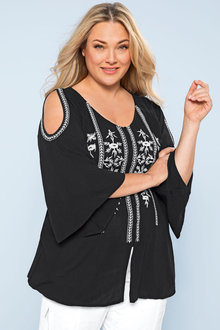 Plus Size - Sara Embroidered Cold Shoulder Top