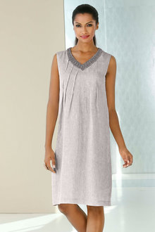 Euro Edit 100% Linen Neck Beaded Dress