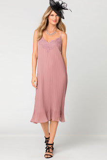 Grace Hill Lace Trim Pleat Dress - 182420