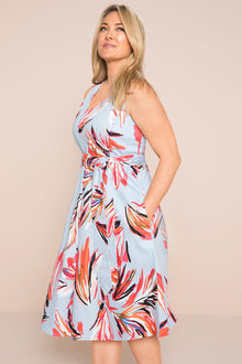 Plus Size - Sara Printed Fit n Flare Dress