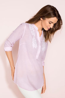 Capture Longline Embroidered Shirt - 182710