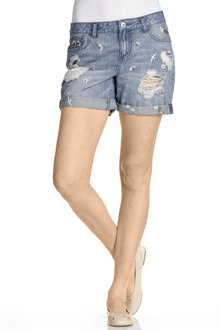 Emerge Embroidered Denim Short