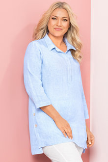 Plus Size - Sara Side Button Shirt