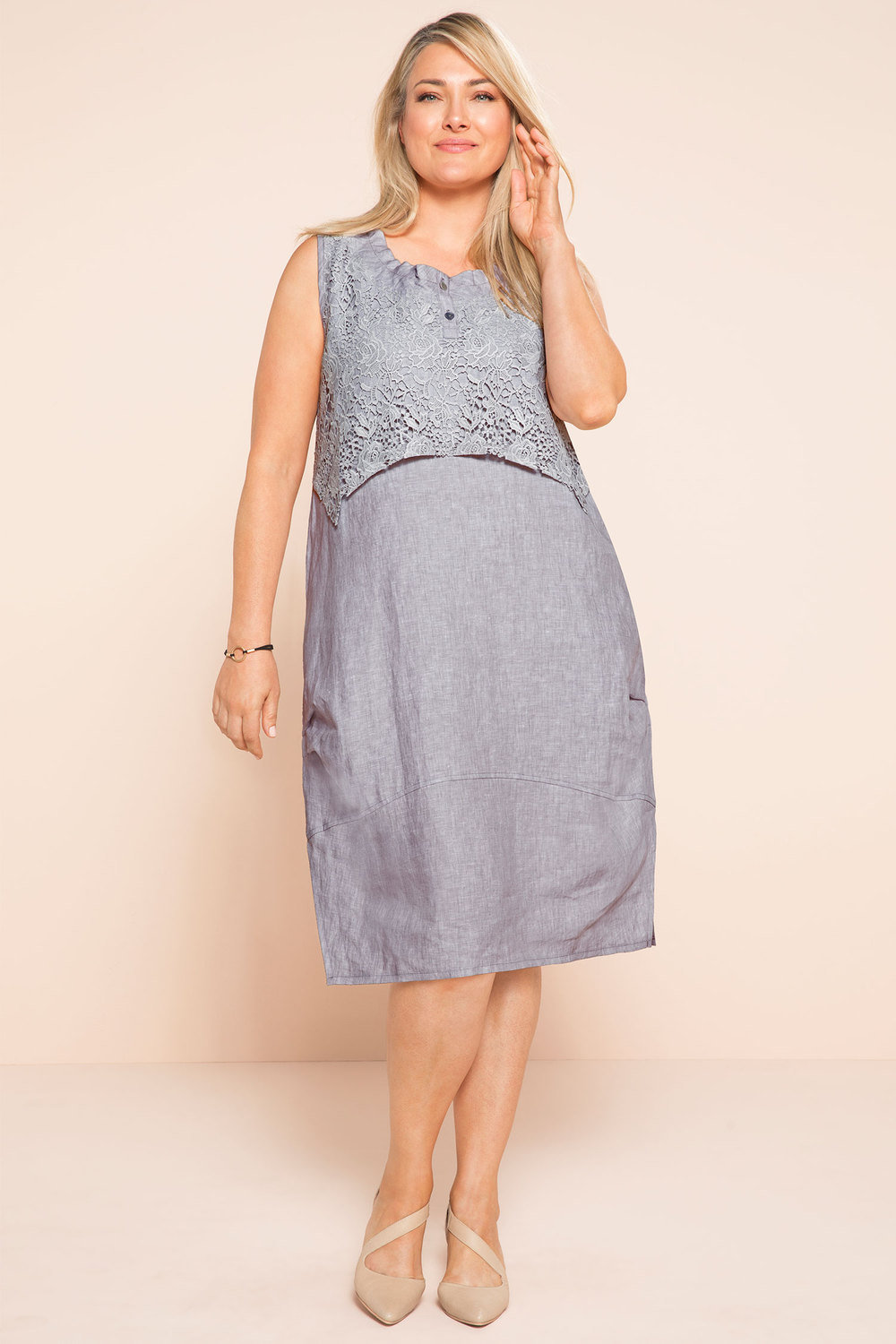 5596c66a787 Plus Size - Sara Lace Linen Dress