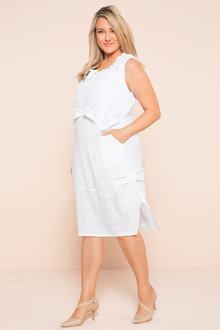 Plus Size - Sara Lace Linen Dress