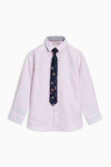 Next Long Sleeve Smart Shirt And Tie (3-16yrs)