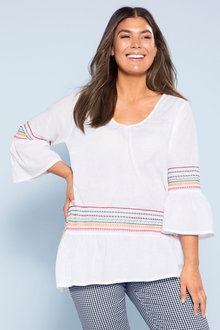 Plus Size - Sara Embroidered Ruffle Top