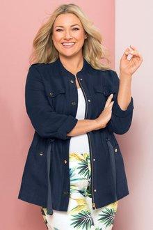 Plus Size - Sara Linen Utility Jacket
