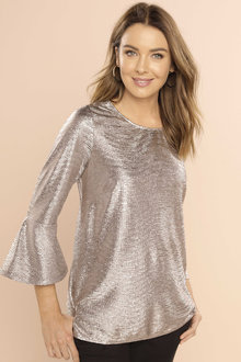 Capture Flute Sleeve Shimmer Top