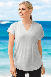 Plus Size - Sara Stretch Vee Tee