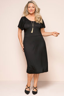 Plus Size - Sara Ruffle Sleeve Knit Dress