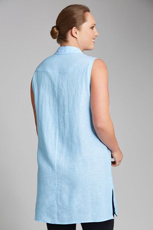 Plus Size - Sara Longline Sleeveless Shirt