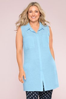 Plus Size - Sara Longline Sleeveless Shirt