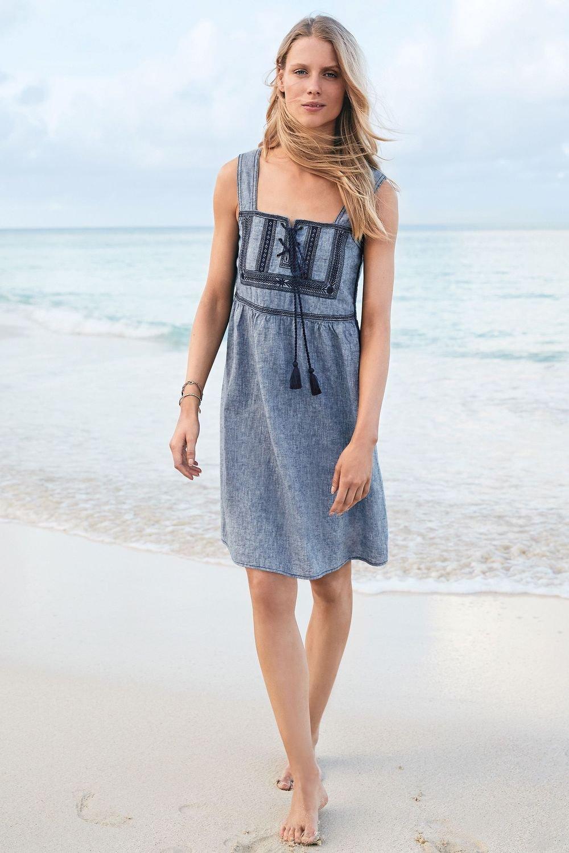 Next Embroidered Linen Blend Dress Online | Shop EziBuy
