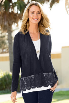 Capture Lace Trim Cardigan - 183408